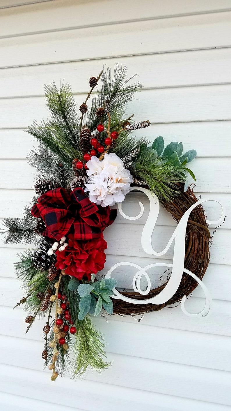 Monogrammed  Wreath for Front Door Initial Door WreathRustic image 0
