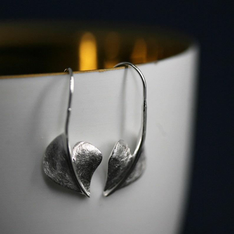 925 Silver Heart Leaf Ohrper 925er brushed silver leaf earneg