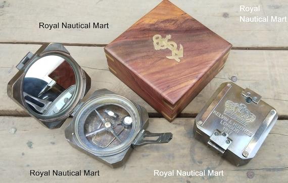 Antique vintage nautical brass kelvin/&hughes brunton compass with leather case