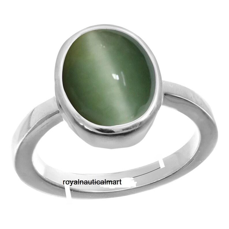 Original Cats Eye Gemstone Ring Natural Cat/'s Eye gemstone   Lehsunia Stone igli lab Certified Gemstone 92.5 Astrological Adjustable Ring