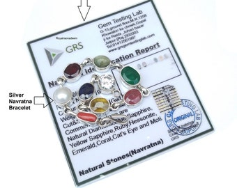 Natural Navratna Gemstone Bracelet , Genuine Navratna Bracelet, Nine gemstone Bracelet, Bracelet For Good Luck 925 Silver Gemstone Bracelet