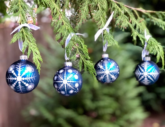 Christmas Tree Ornaments Set Of 4 Hand Painted Dot Mandala