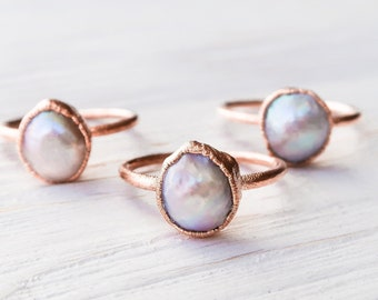 with Gift Box Delicate Rings for Everyday Wear Anemone Jewelry Pearl Ring in 14k Gold Filled Double Band Anniversary and Promise Rings for Her