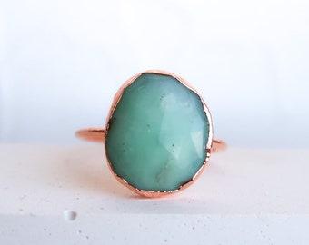 Healing Chrysoprase Statement Ring May Birthstone Cherry Chrysoprase Unisex Ring Healing Dainty Ring Libra Ring 925 Sterling Silver