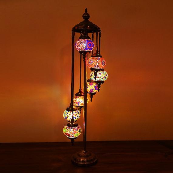 Turkish Moroccan Style Mosaic Multicolour Hanging Lamp Light Large Globe