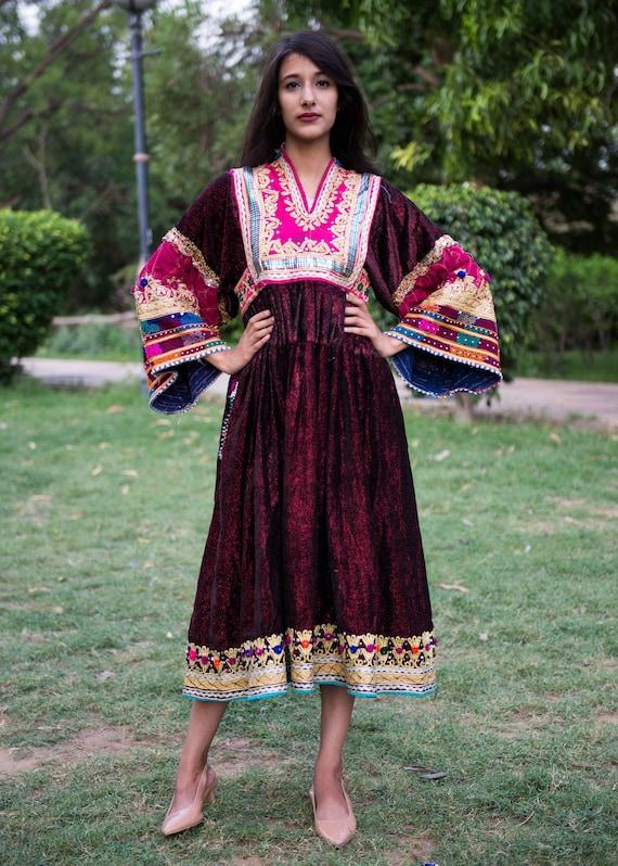 Vintage Embroidered Kuchi Frock Afghan dress vinta