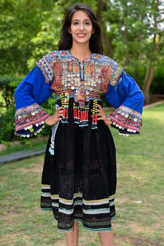 velvet Vintage afghan dress, Embroidered Beaded Af