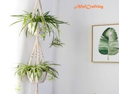 Macrame Double Plant Hanger Indoor Outdoor 2 Tier Hanging Planter Cotton Rope 4 Legs 67 inch By AfafCrafting