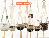 Macrame Plant Hanger Cotton Rope Indoor Outdoor Hanging Planter Basket Net Pocket Home Garden Decoration By AfafCrafting