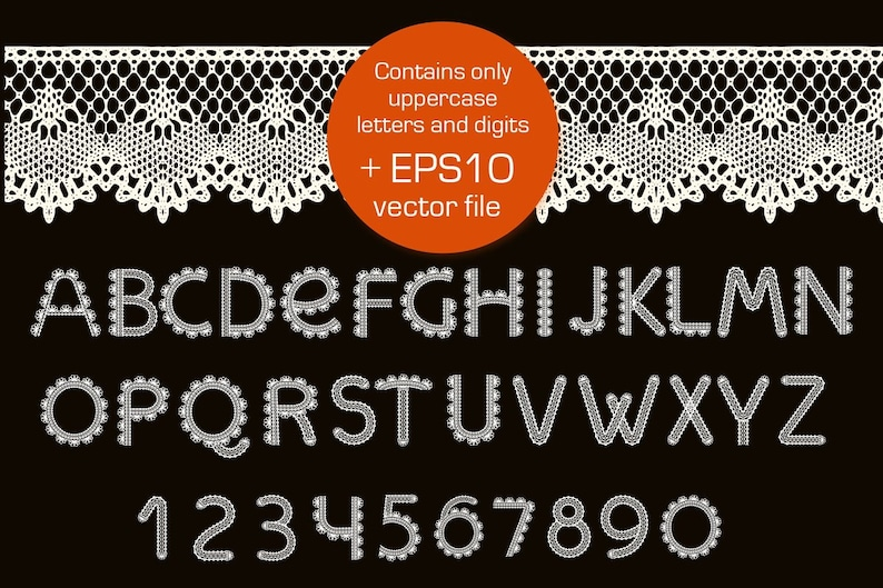 Otf and Eps Files Machine Embroidery Fonts Crochet SVG Craft Lace Font