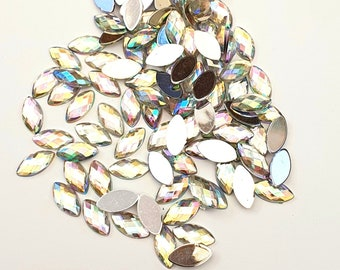 8pc 10x5mm Horse eye Pointed Back Glass Rhinestone Cabochons pls pick a color
