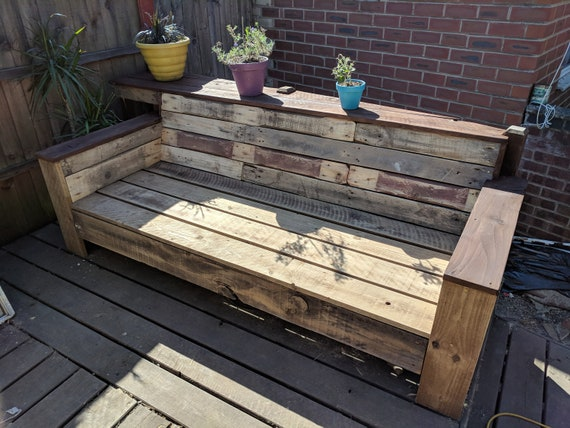 Enjoyable Custom Made Reclaimed Wood Garden Bench Couch Sofa Recycled Wood Reclaimed Pallets Upcycled Design Deck Bench Machost Co Dining Chair Design Ideas Machostcouk