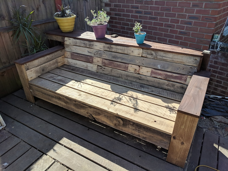 Outstanding Custom Made Pallet Wood Garden Bench Couch Sofa Recycled Wood Reclaimed Pallets Upcycled Design Deck Bench Pdpeps Interior Chair Design Pdpepsorg