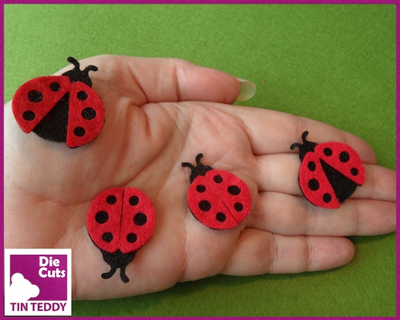Die Cut cute bugs insects x 16 mixed colour topper embellishment