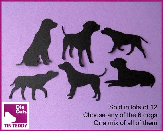 10 Labrador Dog Silhouette Die Cuts Shapes Black Card