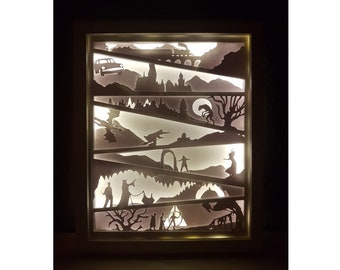 Wizard Magic inspired shadow box SVG PDF PNG paper cutting instant download template Cut file A4 and 8x10 Inch 3D cuts