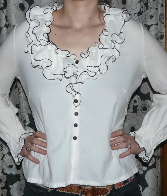 Vintage ruffled blouse Women Gr.40 white 70s