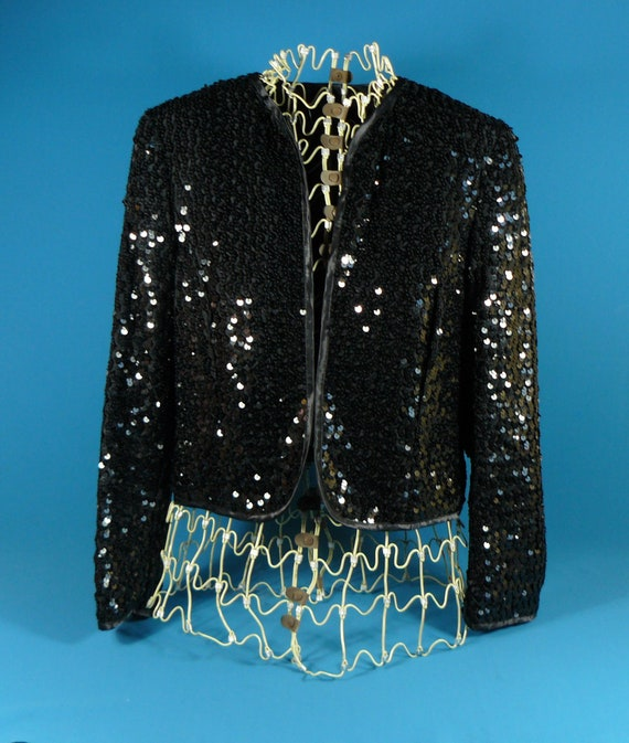 vintage ladies short jacket sequins *Lucie Linden… - image 1