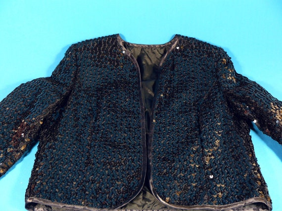 vintage ladies short jacket sequins *Lucie Linden… - image 6