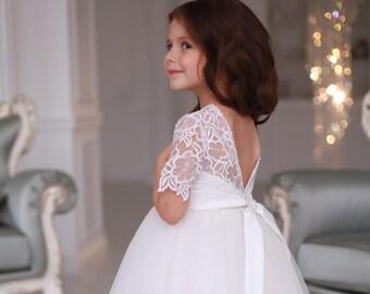 05f1e0dcc white tulle flower girl dress - wedding baby dress - tutu dress toddler -  first birthday dress -pageant dress - first communion dress