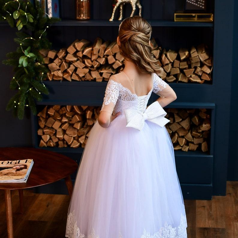 White lace Flower Girl Dress-tutu Flower Girl dress tutu dress toddler-pageant dress-festive girl dress first communion dress