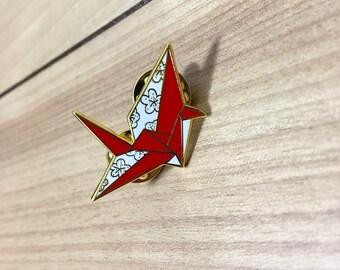 Origami flower pin etsy origami paper crane hard enamel pin mightylinksfo