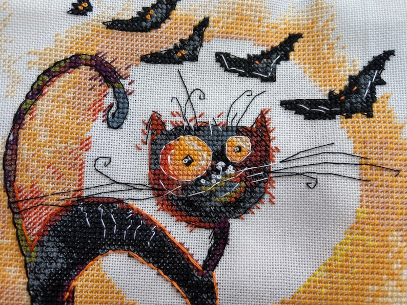 crazy bat beginner needlepoint scheme Black cat Halloween cross stitch pattern funky cat hand embroidery design