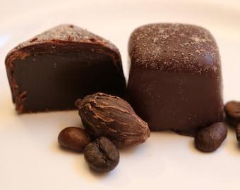 Espresso Caramel; handcrafted and gourmet, in dark chocolate