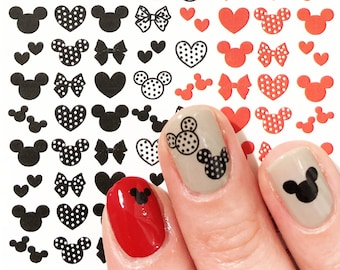Disney nail art Mickey Mouse  theme water sticker decals cute black and red polka dot fingerbang