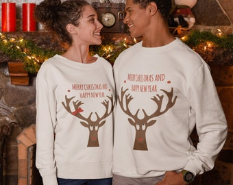 cae8379b4 Christmas Couple sweaters set Rudolph Hoodie Couples Winter sweater Deer  sweater Merry Christmas Pullover Raindeer sweater Red Nose 30