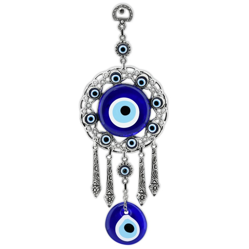Turkish Glass Amulet Classic Blue Evil Eye Blessing Charm Wall Hanging Home Pendant Ornaments