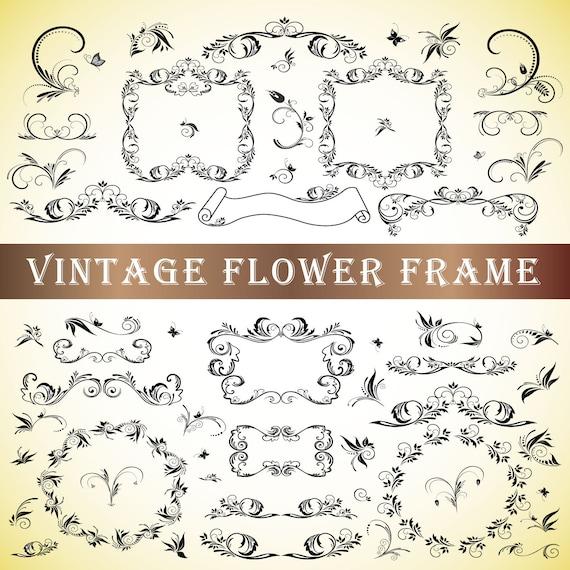Floral Svg Flower Decor Svg Design Element Svg Flourish Etsy