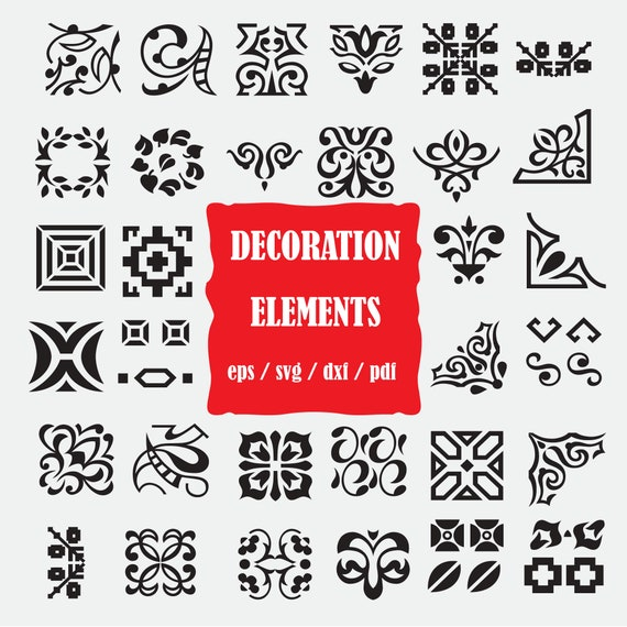 Decorative Elements Svg Grunge Svg Swirl Svg Flourish Svg Etsy
