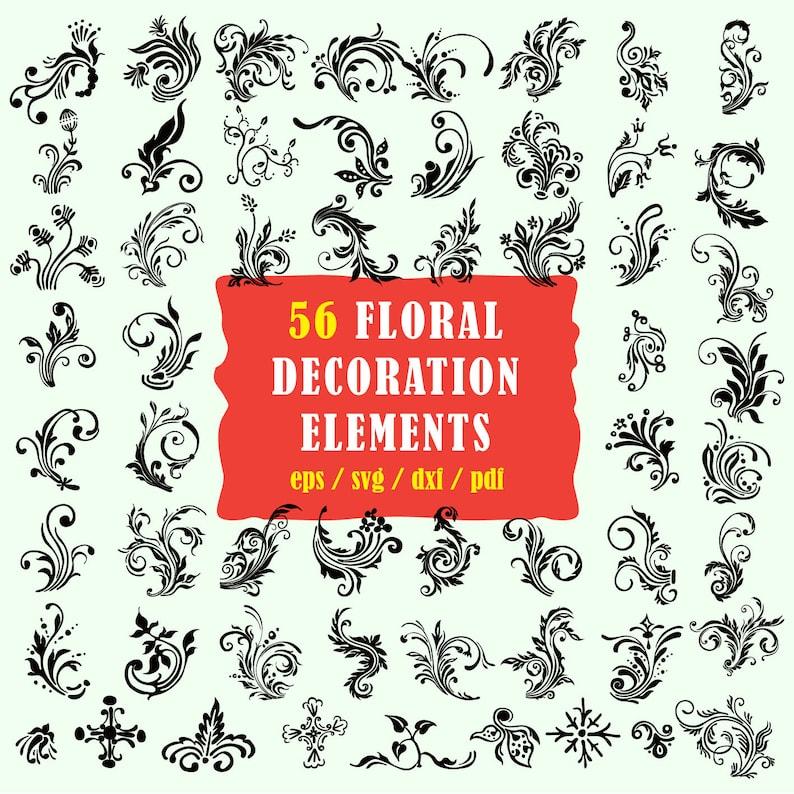 Floral Svg Decoration Svg Grunge Svg Swirl Svg Flourish Etsy