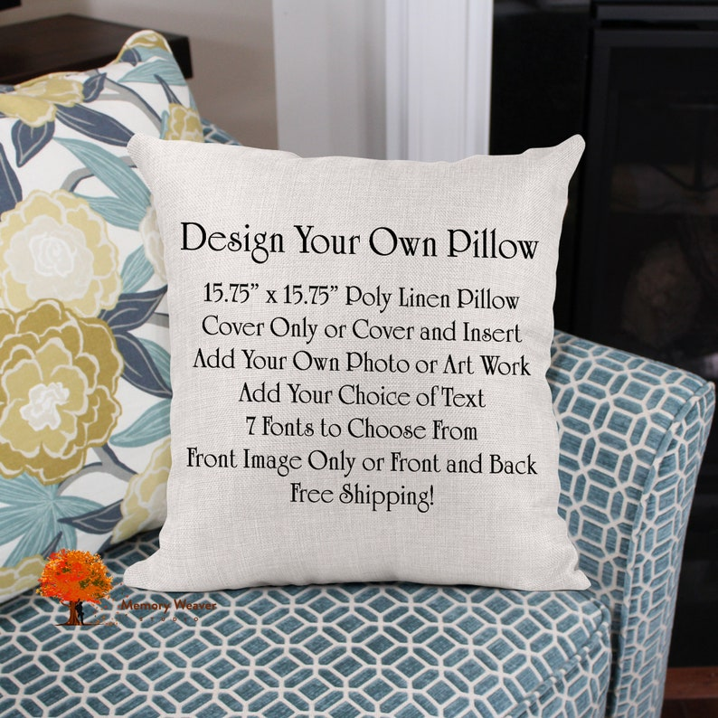Personalized throw pillow Design your own photo pillow