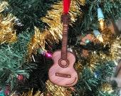 Custom wood guitar ornament, cedar wood ornament, acoustic guitar, acoustic guitar ornament, rock and roll ornmanent
