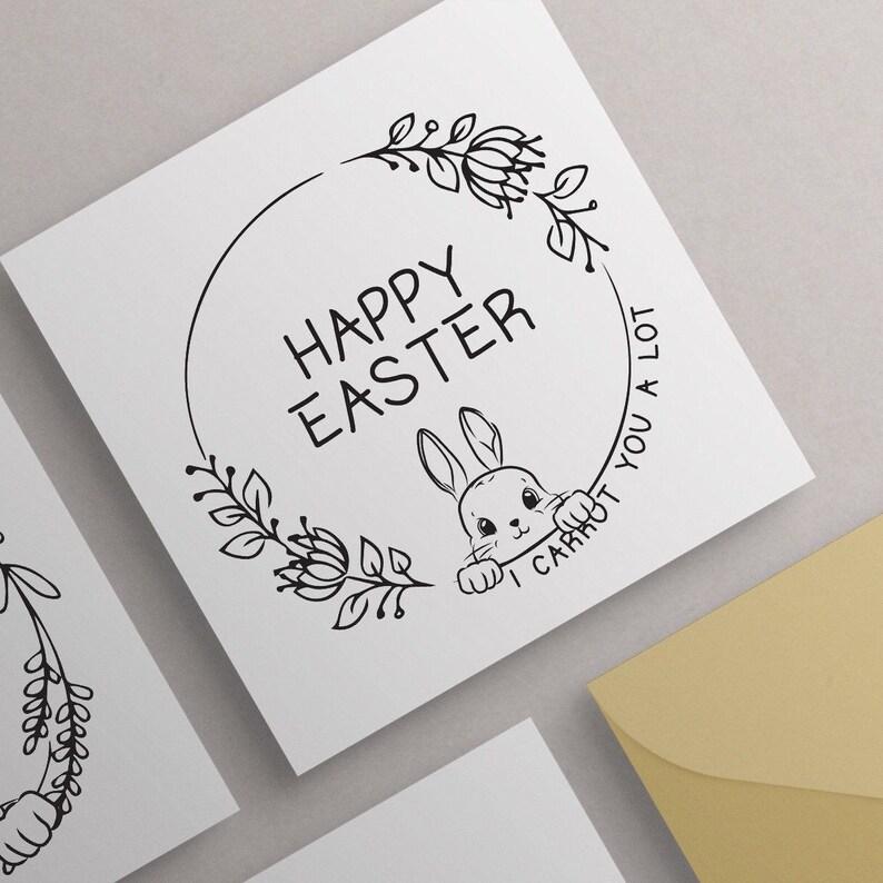 Pack of Easter Cards Spring Floral Cards Easter Card Set Multipack Easter Cards Printable Bunny Easter Cards Colourable Easter Cards