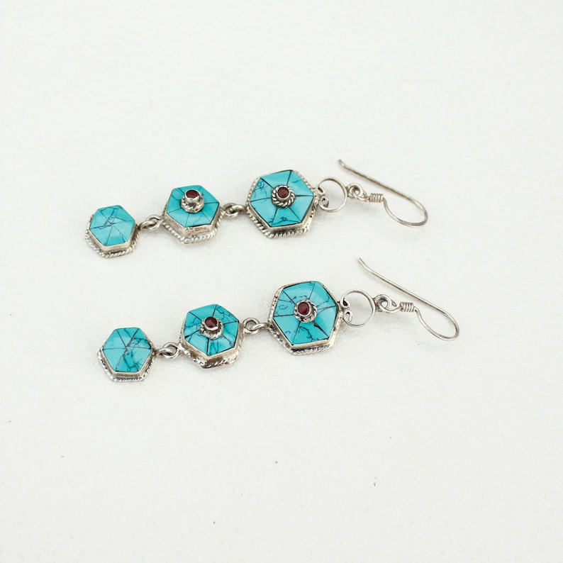 Handmade Dangle Earrings,Dainty Fashionable Long Earrings,925 Sterling Silver Earrings,Turquoise Gemstone Bohemian Earrings Fancy Jewelry
