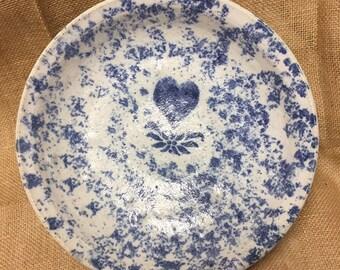 Antique Blue /& White Spatterware Salad Dessert Plate Spongeware 19th Century