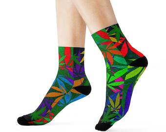 8328c9e02fd 420 Colorado Colorful Fun Novelty Pot Leaf Socks