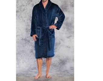 c552ff328e Personalized Premium Mens Robes-Long Fleece Robe-Tahoe Fleece Robe- Plush Mens  Robes- Robes for Him-Navy Plush Robe