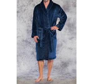 1b893c6398 Embroidered Monogrammed Plush BathRobe-Long Microfleece Bathrobes-Fleece  Robe -Morning Robe-Robes for Him-Gift for Dad-Grey Plush Robe