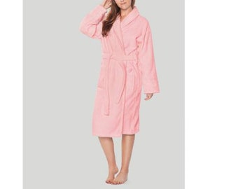 Personalized Pink Cotton Terry BathRobe- Cotton Terry Spa Robe- Monogrammed Towel  Robe - white - Pink a1d478d1b