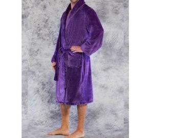 03771c6abe Personalized Plush BathRobe- Monogrammed Microfleece Bathrobes-Long Fleece  Robe-Velvety Robe-Purple Plush Robe