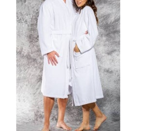 bfa18e920b Personalized His and Hers Soft Terry BathRobe- Pure Cotton Terry Robe- Matching  Couple Robes - Shawl Collar Robe