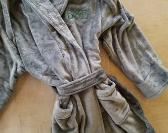 Embroidered Plus Size Monogram Plush BathRobe-Long Microfleece Bathrobes  -Morning Robe-Robes for Him-Gift for Dad-Grey Plush Robe 15173f086