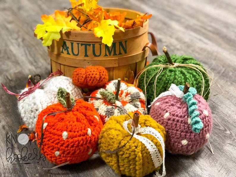 Crocheted Farmhouse Style Pumpkins Handmade Farmhouse Decor image 0