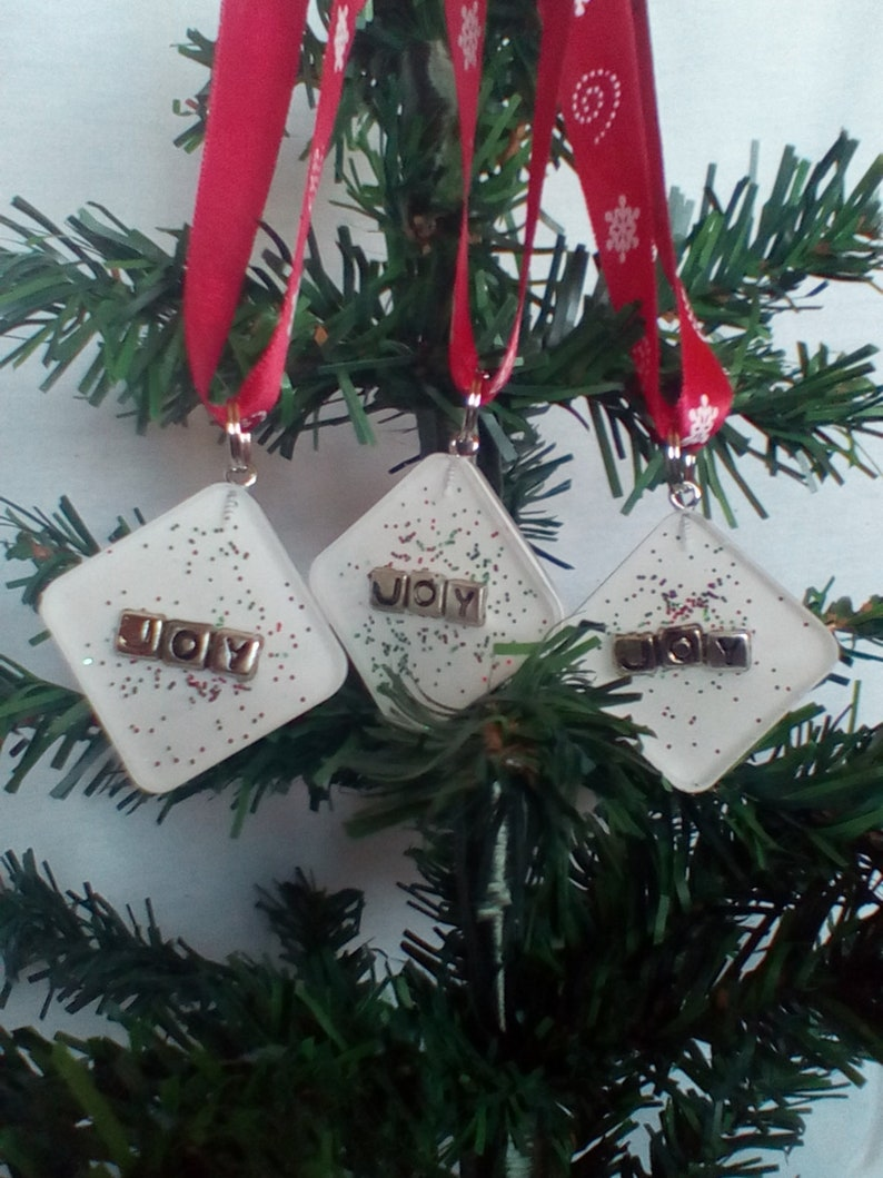 Square White Joy Christmas Ornaments Glitter Joy Xmas Tree Balls Bulbs Baubles Christmas Xmas Winter Holiday Decorations Baubles Ornaments