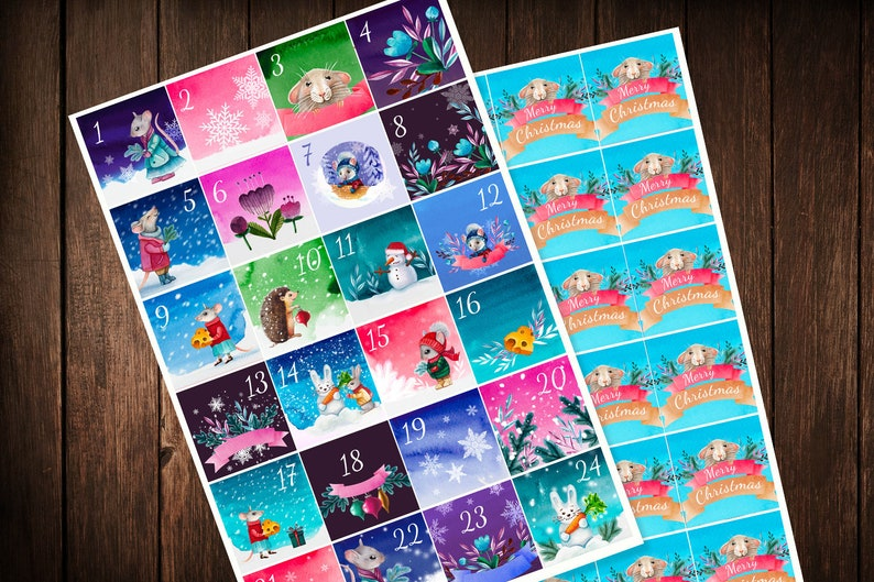 Christmas Advent Calendar Cute Animals Mouse Watercolor Stickers Countdown Planner Stickers 2019 crafts for kids Printable DIY