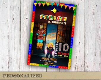 Captain Marvel Invitation Birthday Party Card Printable Lego